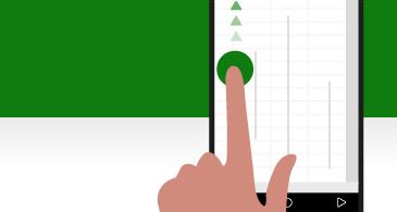 מסך טלפון עם אצבע המצביעה כדי לגלול נקודות אחיזה