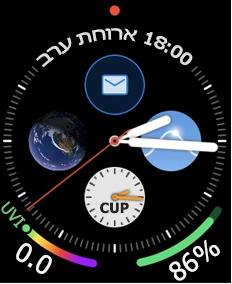 הפנים של Apple Watch עם סמל דואר אלקטרוני