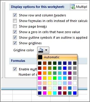 הגדרות צבע של קווי רשת בתיבת הדו-שיח 'אפשרויות Excel'