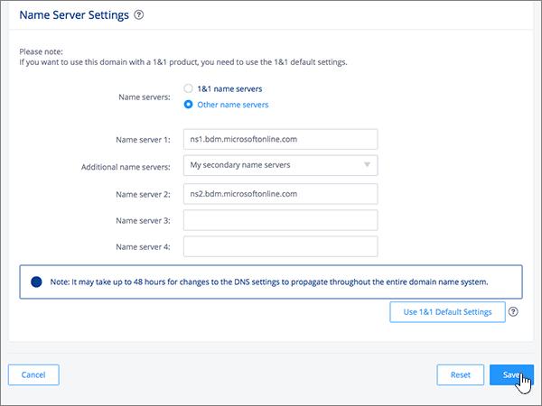 לחיצה על Save בדף Name Server Settings