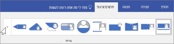 צילום מסך של סרגל הכלים ' תרשים ארגוני '