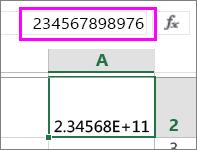 ערך מספרי מופיע בתצוגה מעריכית כאשר הוא מכיל שתים-עשרה ספרות ומעלה
