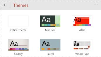 תפריט ' ערכות נושא ' ב-PowerPoint עבור טלפונים של Windows.