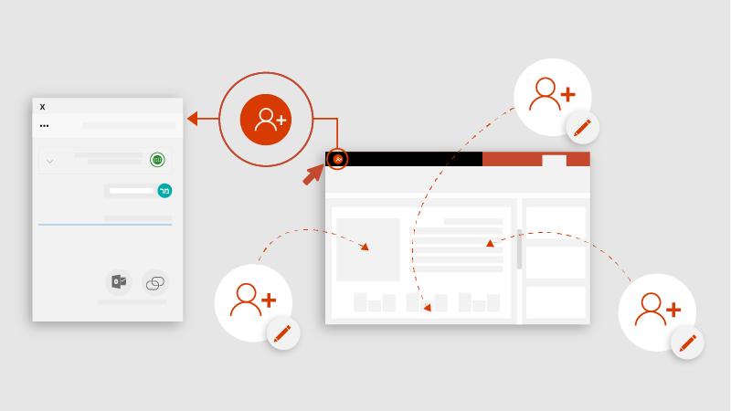 עיצוב עם אנשים רבים שעורכים מסמך PowerPoint