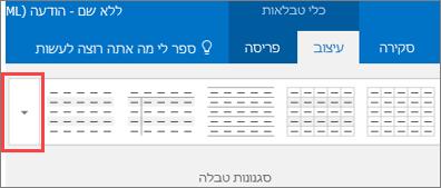 צילום מסך של ששת סגנונות הטבלה הראשונים ולחצן ' עוד ' כדי לראות את כל סגנונות הטבלה.