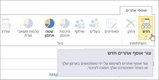 דף של אוסף אתרים כאשר האפשרות 'חדש' נבחרה