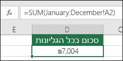 סכום תלת-ממדי על-פני גליונות בעלי שם.  הנוסחה בתא D2 היא =SUM(January:December!A2)