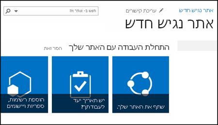 צילום מסך של אתר SharePoint החדש המציג משבצות המשמשות להתאמה אישית של האתר