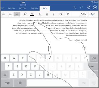 להפעלה של לוח המקשים, הקש במקום כלשהו בטקסט מסוים