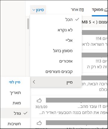 צילום מסך של תפריט 'סנן' כאשר האפשרות 'מיין לפי' נבחרה
