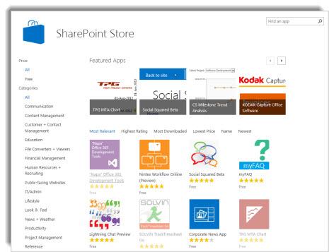 צילום מסך של חנות SharePoint