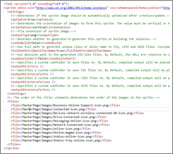 צילום מסך של קובץ XML מסוג Sprite