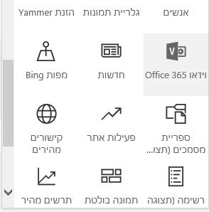 צילום מסך של לחצן תפריט של 'וידאו Office 365' ב- SharePoint.