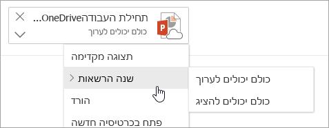 צילום מסך של תפריט 'פעולות נוספות' עם הרשאות 'שינוי' שנבחרו