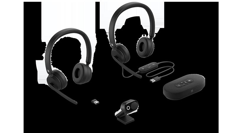תמונת מכשיר של אוזניות, מצלמת אינטרנט ורמקול חדשים