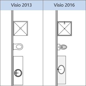 צורות 'תוכנית קומה' ב- Visio 2013, צורות 'תוכנית קומה' ב- Visio 2016