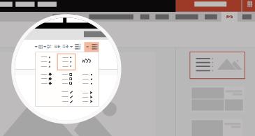 שקופית עם אזור מוגדל המציג אפשרויות רשימה ותבליט זמינות