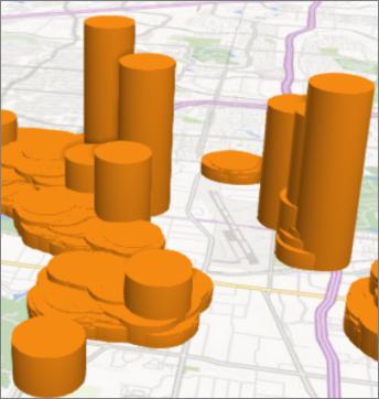 Power Map עם צורות טורים עגולות