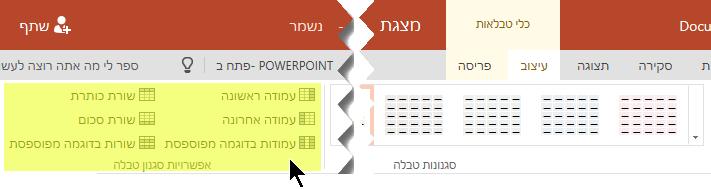 באפשרותך להוסיף סגנונות הצללת שורות או עמודות בטבלה מסוימים.