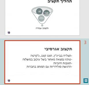 סימון מהדורה בחלונית התמונות הממוזערות של PowerPoint
