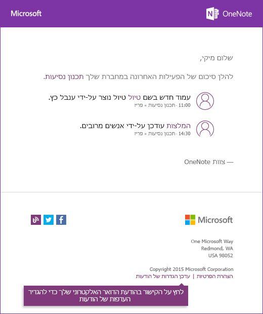 דוגמה OneNote הודעת דיווח בדואר אלקטרוני