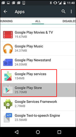 אפשרות ניקוי המטמון של אפליקציית Google Play Store