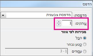 תיבת הדו-שיח 'מדפסת' ב- Word Web App