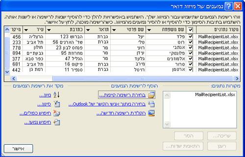 רשימת דיוור בסיסית בתיבת הדו-שיח נמענים של מיזוג דואר .