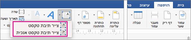 לחץ על תיבת הטקסט כדי להוסיף תיבת טקסט עם טקסט אופקי או אנכי.