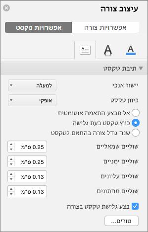 אפשרויות תיבת טקסט בחלונית ' עיצוב צורה '