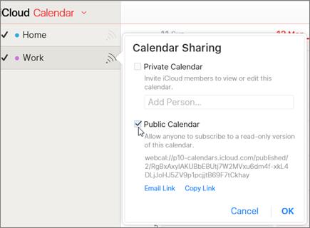 הגדרות לוח שנה ציבורי ב- iCloud
