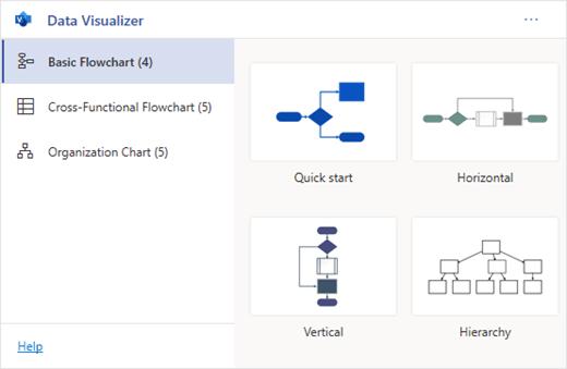 התוספת רכיב המחשה Data מכילה מספר סוגים של דיאגרמות לבחירה.