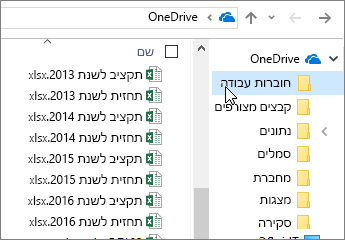 סייר Windows, תיקיית OneDrive, קבצי Excel