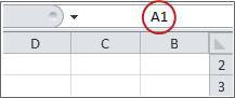 התיבה 'שם' עם הכיתוב A1 לביטול ההסתרה של עמודה A ושורה 1
