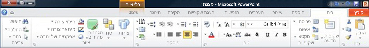 הכרטיסיה 'בית' ב- PowerPoint 2010