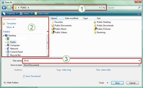 תיבת הדו-שיח 'שמירה בשם' ב- Windows Vista וב- Windows 7