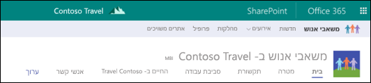 ניווט משותף באתר הרכזת של SharePoint