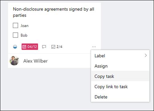 לכידת מסך: הצגת תפריט ' עוד ' שנפתח מתוך פעילות בלוח התכנון.