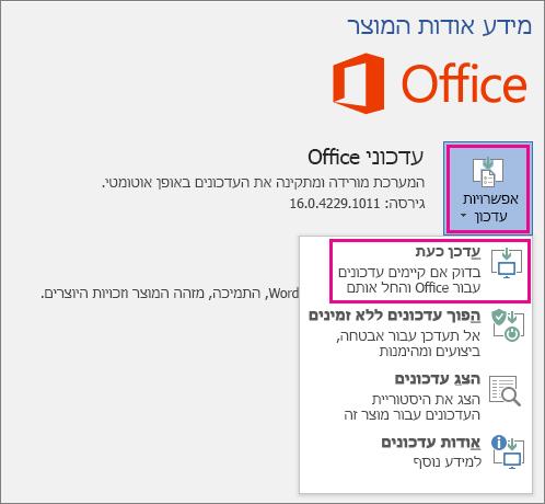 בדיקה ידנית של עדכוני Office ב- Word 2016