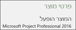 מידע אודות המוצר - Project Professional 2016