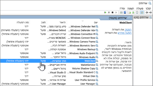 תיבת הדו של Windows Services עם WebClient מסומנת