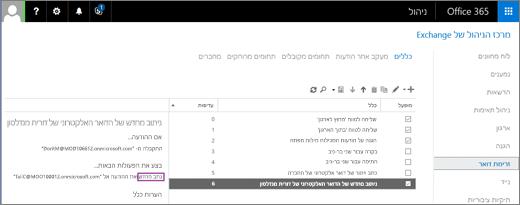 צילום מסך שמציג את הדף 'כללים' של אזור הזרימה 'דואר' במרכז הניהול של Exchange. תיבת הסימון 'מופעל' נבחרת עבור הכלל לניתוב דואר של המשתמשת דורית מנדלסון.
