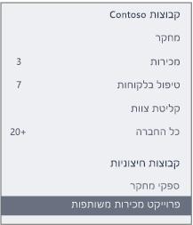 צילום מסך של סרגל הניווט ב- Yammer המציג מקטע 'קבוצות חיצוניות'