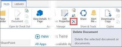 מחיקת יישום מהספריה 'יישומים עבור SharePoint' בקטלוג היישומים