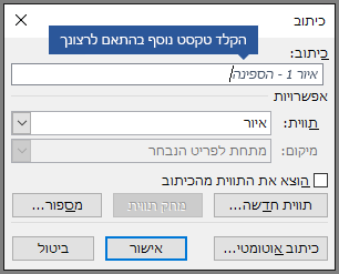 הקלד טקסט מותאם אישית אופציונלי עבור הכיתובים שלך בשדה התווית.