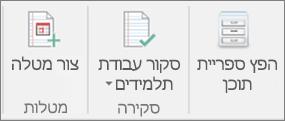 שורה של סמלים המפרטים הפצה של ספריית תוכן,