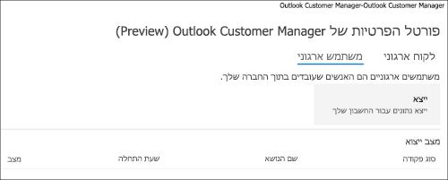 צילום מסך: נתוני עובדים מנהל הלקוח של Outlook ייצוא
