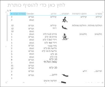 מטריצת Excel הממוינת לפי 'שנה'