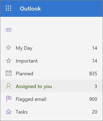 צילום מסך של הרשימה ' הוקצה לך ' ב-Microsoft לביצוע