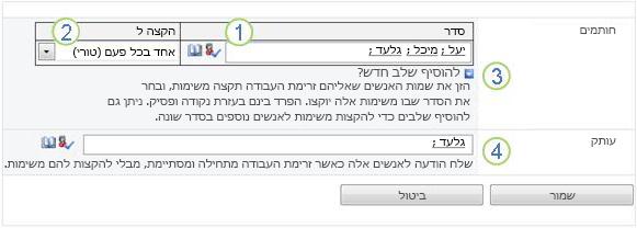 העמוד השני של טופס השיוך עם האפשרויות מוצגות